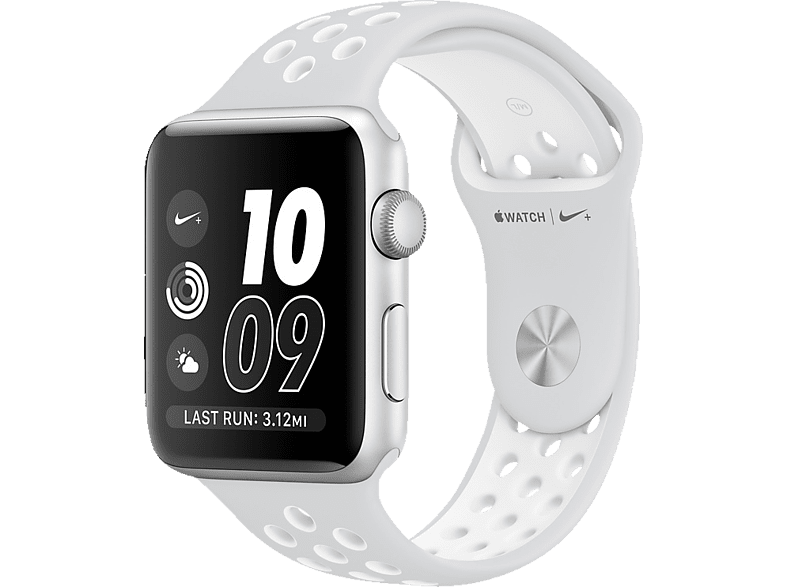 APPLE Watch Series 2 Nike+ Smart Watch Aluminium Polymer, 38 mm, Silber/Weiß | 00190198398567