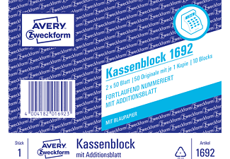 AVERY ZWECKFORM 1692, Kassenblock 10er Pack