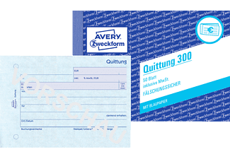 AVERY ZWECKFORM 300-5, Quittung inkl. MwSt. DIN A6 5er Pack
