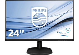 PHILIPS 243V7QDAB mit 60.5 cm / 23.8 Zoll Full-HD Display, 5 ms (Grau zu Grau) Reaktionszeit, Anschlüsse: 1x VGA (Analog ), 1xDVI-D (digital, HDCP), 1xHDMI (digital, HDCP), 1x Synchronisationseingang: Separate Synchronisation, Synchronisation auf Grün, Audio (In/Out)