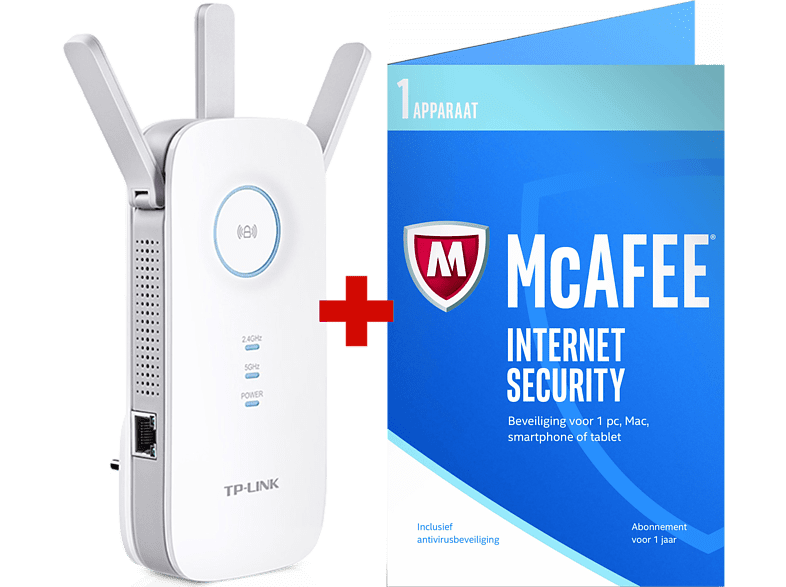 TP LINK AC1750 Wi-Fi-verlenger + McAfee Internet Security (RE450)
