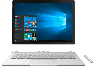 MICROSOFT Surface Book, Convertible mit 13.5 Zoll, 16 GB RAM, Core™ i7 (6. Generation) Prozessor, Windows 10 Pro, Silber