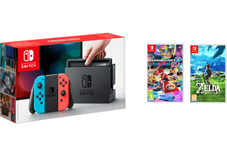 NINTENDO Switch - Röd/Blå (inkl Mario Kart 8: Deluxe, The Legend of Zelda: Breath of the Wild)