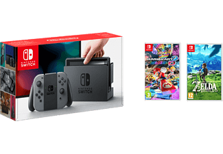 NINTENDO Switch - Grå (inkl Mario Kart 8: Deluxe, The Legend of Zelda: Breath of the Wild)