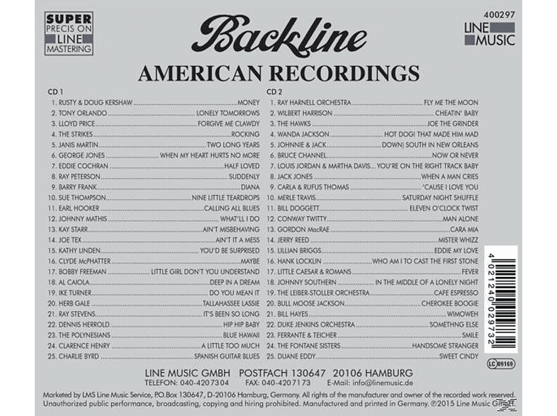 VARIOUS - Backline Vol.297 [CD]