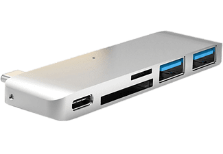 "HYPER Hub 5-in-1 USB-C HyperDrive voor MacBook 12"" Silver (GN21B-SIL)"