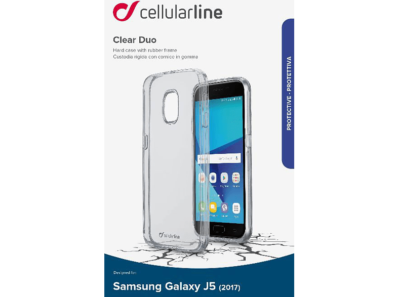 CELLULAR LINE  CLEAR DUO Backcover Samsung Galaxy J5 (2017) Thermoplastisches Polyurethan Transparent | 08018080297793