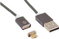 REALPOWER Magnetic mobile M, Magnetisches Micro-USB Sync- und Ladekabel, 1 m, Dunkelgrau
