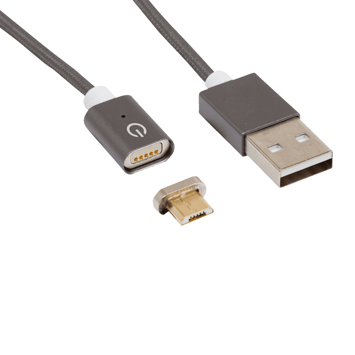 REALPOWER  Magnetic mobile M Magnetisches Micro-USB Sync- und Ladekabel, Alle Endgeräte mit Micro-USB Ladeport, Dunkelgrau | 04040895003096