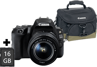 CANON EOS 200D Kit Spiegelreflexkamera inkl. Tasche, 16 GB Speicherkarte, 24.2 Megapixel, Full HD, CMOS Sensor, Near Field Communication, WLAN, 18-55 mm Objektiv (EF-S), Autofokus, Touchscreen, Schwarz