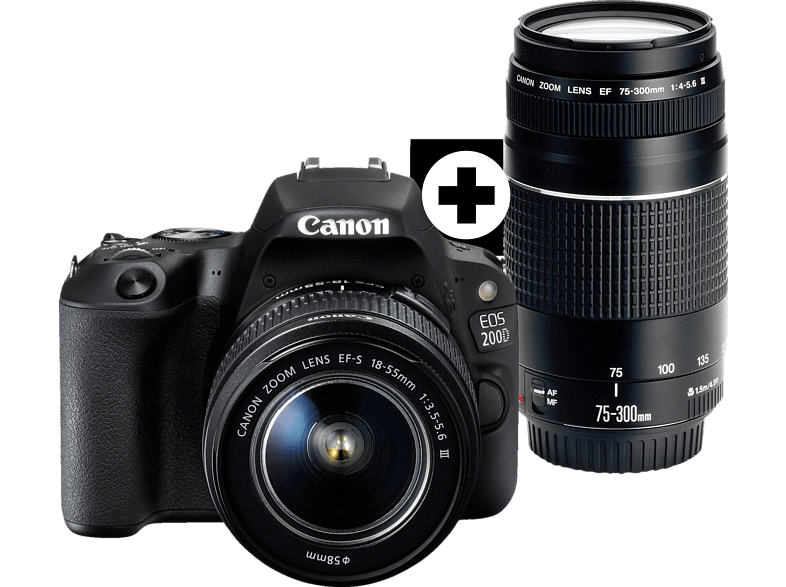 CANON EOS 200D Kit Spiegelreflexkamera, 24.2 Megapixel, Full HD, 18-55 mm, 75-300 mm Objektiv (EF-S, EF), Touchscreen Display, WLAN, Schwarz