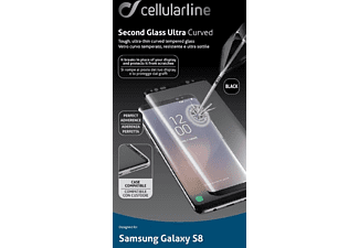 CELLULAR LINE SECOND GLASS ULTRA CURVED, Schutzglas, schwarz, passend für Samsung Galaxy S8