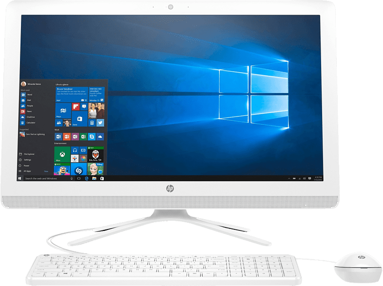 HP All-in-One - 24-g011ng, All-in-One-PC  mit 23.8 Zoll Display, Core™ i3 Prozessor, 1 TB HDD, HD-Grafik 520, Türkis, Weiß
