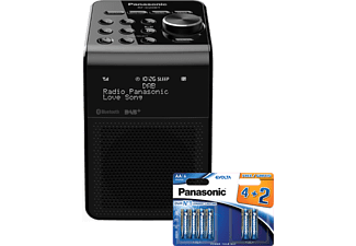 PANASONIC Radio Bluetooth DAB+ Noir + 6 piles AA (RF-D20BB-K PACK)
