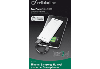 CELLULAR LINE Free Power Slim 3000, Powerbank, 3000 mAh, Weiss
