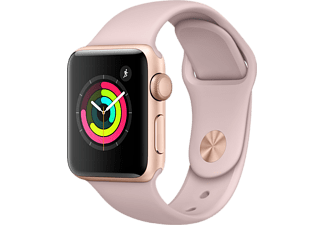 APPLE Watch Series 3 - 38mm Aluminiumboett i Gold med Pink Sand Sportband