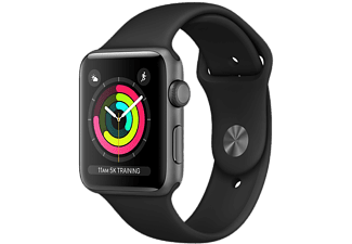 APPLE Watch Series 3 - Boîtier aluminium 38mm Space Gray - Bracelet sport Noir
