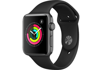 APPLE Watch Series 3 - 42mm Aluminiumboett i Space Gray med Svart Sportband
