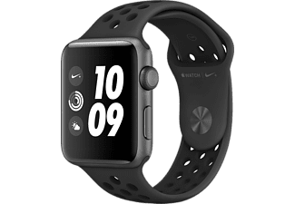 APPLE Watch Series 3 Nike+ - 42mm Aluminiumboett i Rymdgrått med Nike-sportband i Antracit/Svart