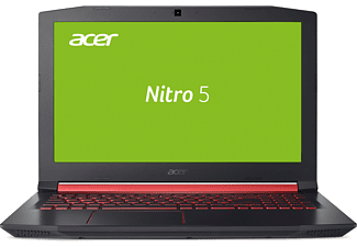 ACER Nitro 5 (AN515-41-F1XF), Gaming Notebook mit 15.6 Zoll Display, Quad-Core Prozessor, 8 GB RAM, 1 TB HDD, Radeon™ RX 550, Schwarz mit roten Applikationen