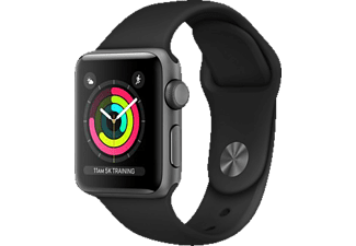 APPLE Watch Series 3 (GPS) 38 mm, Smartwatch, Hochleistungs-Fluorelastomer, 130-200 mm, Space Grau mit Sportarmband Schwarz