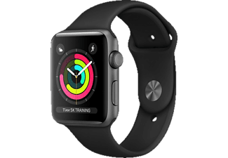 APPLE Watch Series 3 (GPS) 42 mm, Smartwatch, Hochleistungs-Fluorelastomer, 140-210 mm, Space Grau mit Sportarmband Schwarz