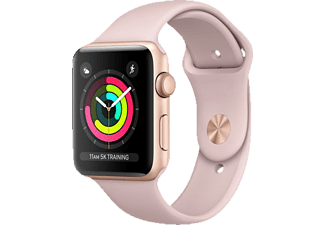 APPLE Watch Series 3 (GPS) 42 mm, Smartwatch, Hochleistungs-Fluorelastomer, 140-210 mm, Gold mit Sportarmband Sandrosa