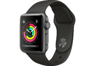APPLE  Watch Series 3 (GPS) 38 mm Smartwatch Aluminium Hochleistungs-Fluorelastomer, 130-200 mm, Space Grau mit Sportarmband Grau