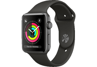 APPLE  Watch Series 3 (GPS) 42 mm Smartwatch Aluminium Hochleistungs-Fluorelastomer, 140-210 mm, Space Grau mit Sportarmband Grau