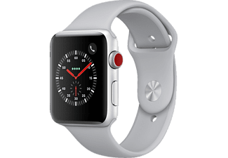 APPLE Watch Series 3 (GPS + Cellular) 42 mm, Smartwatch, Hochleistungs-Fluorelastomer, 140-210 mm, Silber mit Sportarmband Nebel
