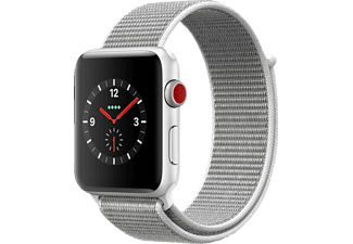 APPLE Watch Series 3 (GPS + Cellular) 42 mm, Smartwatch, Gewebtes Nylon, 145-220 mm, Silber mit Sport Loop Muschel