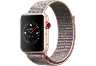 APPLE Watch Series 3 (GPS + Cellular) 42 mm, Smartwatch, Gewebtes Nylon, 145-220 mm, Gold mit Sport Loop Sandrosa