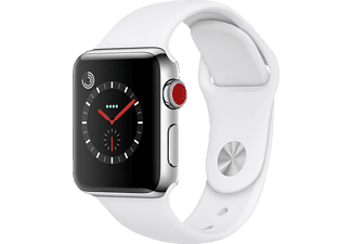 APPLE Watch Series 3 (GPS + Cellular) 38 mm, Smartwatch, Hochleistungs-Fluorelastomer, 130-200 mm, Edelstahl mit Sportarmband Soft Weiß