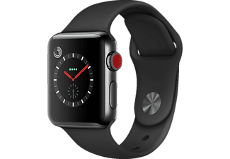 APPLE Watch Series 3 (GPS + Cellular) 38 mm, Smartwatch, Hochleistungs-Fluorelastomer, 130-200 mm, Space Schwarz mit Sportarmband Schwarz