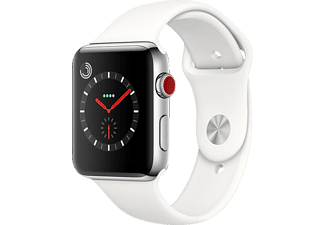 APPLE Watch Series 3 (GPS + Cellular) 42 mm, Smartwatch, Hochleistungs-Fluorelastomer, 140-210 mm, Edelstahl mit Sportarmband Soft Weiß
