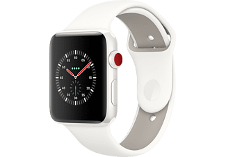 APPLE Watch Edition Series 3 (GPS + Cellular) 38 mm, Smartwatch, Hochleistungs-Fluorelastomer, 130-200 mm, Weiß mit Sportarmband Soft Weiß/Kiesel