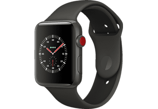 APPLE Watch Edition Series 3 (GPS + Cellular) 42 mm, Smartwatch, Hochleistungs-Fluorelastomer, 140-210 mm, Grau mit Sportarmband Soft Grau/Schwarz