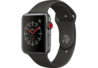 APPLE Watch Series 3 (GPS + Cellular) 42 mm, Smartwatch, Hochleistungs-Fluorelastomer, 140-210 mm, Space Grau mit Sportarmband Grau