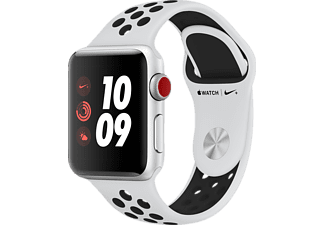 APPLE Watch Nike+ (GPS + Cellular) 38 mm, Smartwatch, Hochleistungs-Fluorelastomer, 130-200 mm, Silber mit Nike Sportarmband Pure Platinum/Schwarz