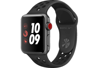 APPLE Watch Nike+ (GPS + Cellular) 38 mm, Smartwatch, Hochleistungs-Fluorelastomer, 130-200 mm, Space Grau mit Nike Sportarmband Anthrazit/Schwarz