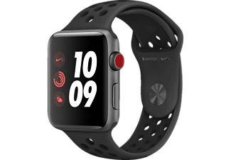 APPLE Watch Nike+ (GPS + Cellular) 42 mm, Smartwatch, Hochleistungs-Fluorelastomer, 140-210 mm, Space Grau mit Nike Sportarmband Anthrazit/Schwarz