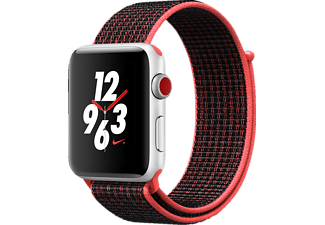 APPLE Watch Nike+ (GPS + Cellular) 42 mm, Smartwatch, Gewebtes Nylon, 145-220 mm, Silber mit Nike Sport Loop Bright Crimson/Schwarz