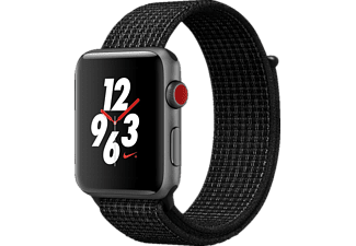 APPLE Watch Nike+ (GPS + Cellular) 42 mm, Smartwatch, Nylon, 145-220 mm, Space Grau mit Nike Sport Loop Schwarz/Pure Platinum