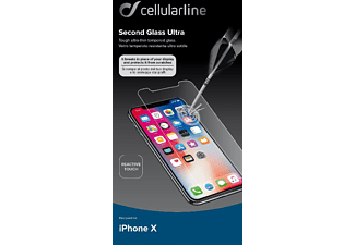 CELLULAR LINE SECOND GLASS ULTRA, Schutzglas, transparent, passend für Apple iPhone X