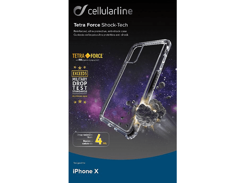 CELLULAR LINE TETRA FORCE Shock-Tech Backcover Apple iPhone X Kunststoff Transparent