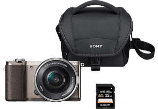 SONY Alpha 5100 Kit Systemkamera, 24.3 Megapixel, Full HD, APS-C Exmor CMOS Sensor, Near Field Communication, WLAN, 16-50 mm Objektiv, Hybrid Autofokus, Touchscreen, Braun/Schwarz