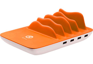 XLAYER Family Charger Maxi 4-Port USB PLUS Wireless Ladestation, passend für Universal Universal, Weiß/Orange
