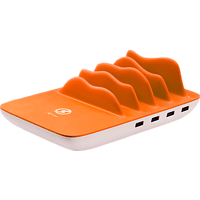 XLAYER Family Charger Maxi 4-Port USB PLUS Wireless Ladestation, Weiß/Orange