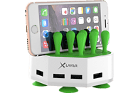 XLAYER Family Charger Mini 4-Port USB Ladestation, Weiß/Grün