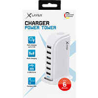 XLAYER Power Tower 6-Port USB Ladestation, Weiß